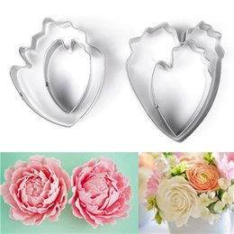 Wholesale Cookie Cutter Petals - 4 Pcs Set Carnation Flower Petal Stainless Steel Cake Friut Cookie Cutters Set Biscuit Paste Sugar Mold DIY Cake Decoration