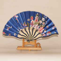 Wholesale Hand Made Bamboo Fan - Wholesale-Chinese Dancing Bamboo Fan Silk Cloth Hand Make Wedding Gifts Christmas Decorations Birthday Folding Fan Event & Party Supplies