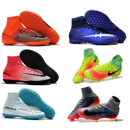 Wholesale Childrens Kids Boots - Childrens Indoor Soccer Shoes Kids Soccer Cleats CR7 Cristiano Ronaldo Men Mercurial Superfly FG TF High Top Boys Football Boots Women TURF