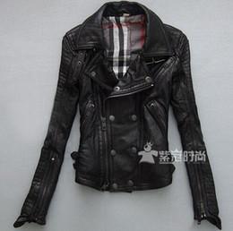 Wholesale Women Motorcycle Jacket Xxl - 2017 sheepskin brand fashion Women slim motorcycle clothing turn-down collar short design genuine leather jacket   S-XXL