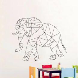 Wholesale Elephant 3d Stickers - 3d Effect Geometric Elephant Vinyl Cartoon Wall Decal Sticker Home Decoration Art Mural for Living Room Bedroom Decor