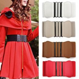 Wholesale Wide Brown Waist Belts - 2015 Hot Sale!New Fashion Women Buckle Wide Stretch Elastic Waist Belt Adjustable Waistband 5 Color Z2