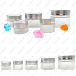 Wholesale Glass Makeup Containers - Frost glass cream jar PP Jar Empty Jar Pot Eyeshadow Makeup Face Cream Lip Balm Container Bottle Free shipping