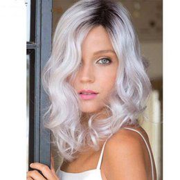 Wholesale Wavy White Cosplay Wig - Ombre Wig Long Curly Wavy Ombre White Natural Cheap Hair Cosplay Wig Heat Resistant Synthetic Wigs for Women Sale