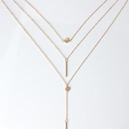 Wholesale Rod Necklace - 2017 new jewelry contracted 3 layers necklace sautoir dot fine metal rod Water droplets iron necklace