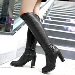 Wholesale Tall Wedge Boots Women - Winter Warm Faux Fur Women Knee High Boots Soft Leather Fashion Side Zippers New Female Thick Heel Tall Boots Shoes Plus Size