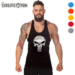 Wholesale Thin Modal Tops - Wholesale- New Punisher Skull Print Thin Straps Professional Fitness Tank Top Fashion Bodybuilding Cotton Vest Men Undershirt Tops 2016