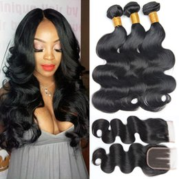 weave bundles three part closure Coupons - Brazilian Virgin Hair Weave Body Wave 3 bundles with Closure Brazilian Human Hair Bundles with Lace Closure Brazilian Hair Bundles