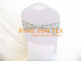 Wholesale Spandex Chair Band Silver - Silver Sequin And White Lycra Band Spandex Chair Sash For Cheap Wedding Chair Cover Decoration