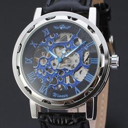 Wholesale Mechanical Skeleton Clock - Winner Skeleton Watch Mens Watches Blue Ocean Fashion Casual Designer Stainless Steel Men Top Brand Luxury Automatic Watch Clock