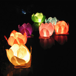 Wholesale Lotus Water Lanterns - Lotus Lantern Paper Lanterns Water Floating Light Square Blessing Festival Lanterns Floating Wishing Light Water Candle Light