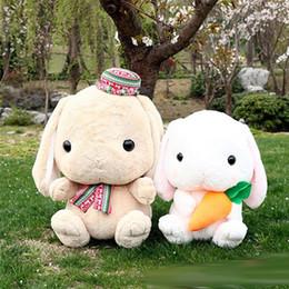 2019 conigli giganti Big Huge Plush Bunny Plush Toy 75cm Giant Cartoon Anime farcito di coniglio con carota bambola giocattoli per bambini regali di natale conigli giganti economici