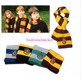Wholesale Factory Colleges - Goodquality factory price red 4 Colors College Scarf Harry Potter Gryffindor Series Scarf With Badge Cosplay Knit Scarves Halloween Costumes