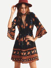 Wholesale Western Style Dresses Fashion - 2017 woman summer fashion stylish new Western street style youthful casual scarf chiffon dress Postage free