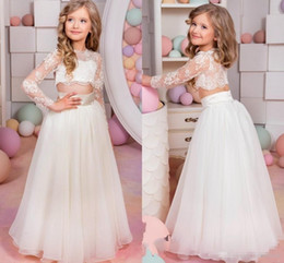 manches habillage enfants tulle Promotion 2017 Lovely Kids Pageant Robes Sexy Sheer Lace Applique Jewel Neck Illusion Long Sleeve Deux Pieces A Line Tulle Little Girl Robe de bal