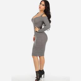 Wholesale Grey Sheath Knee Length Dress - European grey long-sleeved v-neck dew shoulder bag hip hot style dress