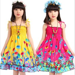 Wholesale Summer Rainbow Beach Dress - 2017 Summer Kids Suspender Dress Bohemian Dresses Skirts Rainbow Print Ruffle Lace Bust Girl Beach Dress for Cheap