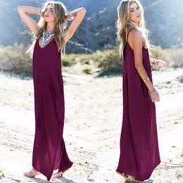 2019 um vestido strapless maxi Hugely popular de uma peça vestidos Maxi Europa e nos Estados Unidos verão mulheres irregular cinta bolso V neck saias longas um vestido strapless maxi barato
