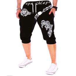 Wholesale Vintage Mens Tie - Wholesale- Vintage Pattern Mens Causal Short Pants Tied Retro Design Letter Print Solid Color Summer Male Hip Hop Cropped Shorts Trousers