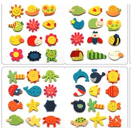 Wholesale Wooden Toys Magnets - Wholesale- 12pcs set Painted wooden model toy baby children's early education knowledge toys cartoon animal magnets Creative decoration