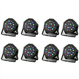 Wholesale Dmx Color Laser - 5Pcs 18x1W Par LED Stage Light Bar Sound Active Led Stage Light Flat Par DMX-512 Laser Lighting Projector Party DJ Lamp