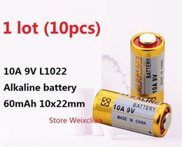 Wholesale 9v Battery Wholesale - 10pcs 1 lot 10A 9V 10A9V 9V10A L1022 dry alkaline battery 9 Volt Batteries replace A23L Free Shipping