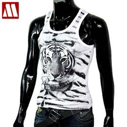 Wholesale cotton lycra shirts wholesale - Wholesale- 2016 Men's Fashion Tigers Tanks 3D printed undershirt for man slim fit lycra cotton tees t shirts male Tank Tops VEST C461