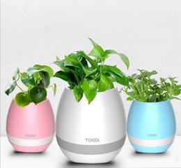 Wholesale Best Music Mobile - Best Creative TOKQI Bluetooh Speakers Smart Touch Music Flowerpots Plant Piano Music Playing K3 Wireless Flowerpot Without Plant