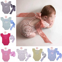 Wholesale Newborn Photography Props Boy - Newborn Baby photography prop lace romper Girls Boys Cute petti Rompers Jumpsuits Infant Toddler Photo Clothing Soft Lace Bodysuits 0-3M