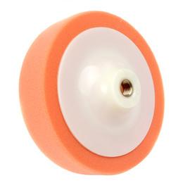 Wholesale Polished Wheels - 1pcs 15cmx6.5cm Soft Car Polishing Pad Orange Sponge Wheel Puffing Pad Car Care Microfibre Wax Polishing Pad CDE_902