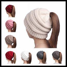 Wholesale Wide Green Crochet Headband - HOT 8 Colors Ponytail CC Label Beanies Women Wide Crochet Headbands Girls Knitted Skull Caps Ladies Hats Ear Warmer