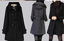 Wholesale Woolen Ladies Jackets - coat long coats winter women jacket female Blends woolen warm overcoat femininos plus size ladies black Clothing 4XL 5XL 6XL