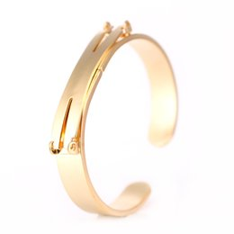 Wholesale Stainless Cuffs Female - New Arrival 316L Stainless Steel Matt Plain Cuff Bangle Bracelets For Female Jewelry Simple Elegant Gold Women Bangle Bracelets
