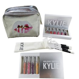 Wholesale Make Up Bag Sets - Kylie Cosmetics Holiday Edition 6pcs set Matte Liquid Lipsticks +Sliver Kylie Jenner Make Up Bag +5pcs set Kylie Brushes