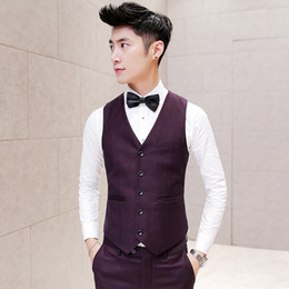 Wholesale Desinger Wedding Dresses - Wholesale- Men Suit Vest Wedding Slim FIt Burgundy Sleeveless Jacket Waistcoat Colete Masculino Dress Vests for Men Korean Desinger Vest