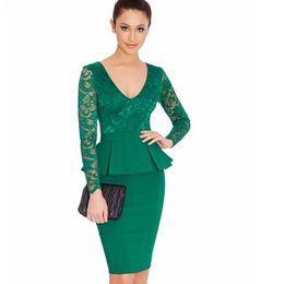 ae074650915 Long Sleeve Peplum Dress Deep V Neck Sexy Lace dress Plus Size Elegant Wear  to Work Bodycon Hot Women Midi dress DK0527BK Dropshipping cheap lace long  ...