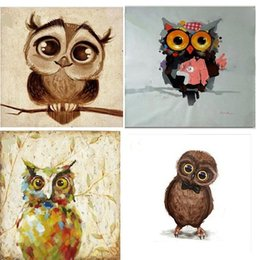 Wholesale Big Art Wall Decor - 4pcs Big Eyes Cartoon Owl,High Quality genuine Hand Painted Wall Decor Abstract Animal Art Oil Painting On Canvas ali-Merm