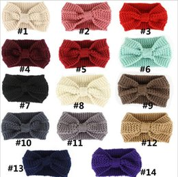Wholesale Turban Party Women - Women Lady Crochet Bow Knot Turban Knitted Head Wrap Hairband Winter Ear Warmer Headband Hair Band YYA645