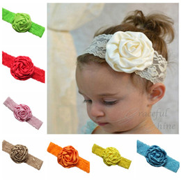 Wholesale Europe Headbands - 2017 children hair accessories in Europe and America headdress flower The rose bud bud silk hair band free shipping