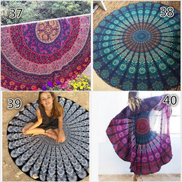 Wholesale Fire Shawls - 43 Types New Large Shawl Hot Round Beach Towel Fire Peacock Mandala 150cm Beach Swim Towels Bohemia Style Bikini Covers