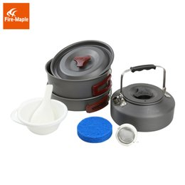 Wholesale Hard Anodizing - Fire Maple FMC-204 Backpacking Cookware Sets (Pot, kettle ,2 PP bowls, spoon, scoop, sponge) Hard Anodizing Aluminum Non-Stick