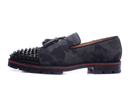 Wholesale Career Army - MBL987A Size 39-46 Men Army Print Genuine Suede Black Leather Tassel With Spikes Toe Slip On Tire Sole Loafers, Gentleman Luxury Dress Shoes