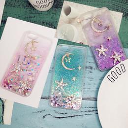 2019 billige nextel telefone Für Samsung galaxy s5 s6 s7 kante s8 s9 plus Luxus Diamant Seestern Mond Sterne Flüssige quicksand Herz glitter Soft case cover