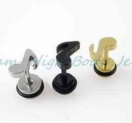 Wholesale Wonderful Earrings - Free Shipping New Design Earring Note Logo Wonderful Rave personality Cool Hip-hop Jewelry 50pcs lot High Quality Ear Ring Stud