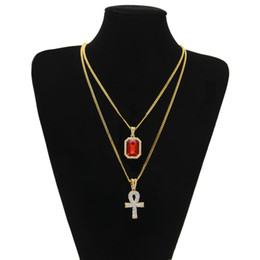 Wholesale Large Silver Chain Link Necklace - 2017 Egyptian large Ankh Key pendant necklaces Sets Mini Square Ruby Sapphire with Cross Charms cuban link Chain For mens Hip Hop Jewelry