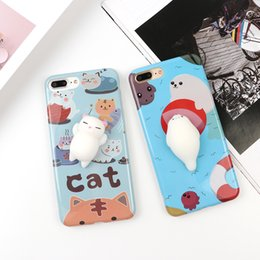 Wholesale Cat Iphone 3d - Creative Cute Squishy Toy 3D Soft Silicone Cat Squish TPU Phone Case for IPhone 6,6s,6Plus,6sPlus 7,7Plus phone shell