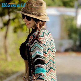 Wholesale Straw Hat Womens Fashion - Wholesale- Amazing Summer Autumn Fashion Womens Straw Hat Color Striped Beach Sun Hat