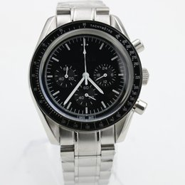 Wholesale Moon Watch Chronograph - Top AAA luxury Brand men Quartz chronograph watches Black Dial Analog Speed Moon Watch Master Stainless steel sapphire original mens watches