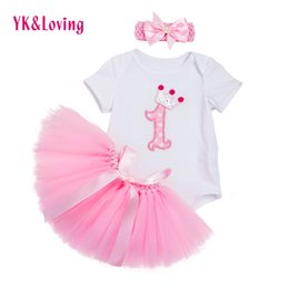 Wholesale Wholesale Baby Clothings - Newest Baby Girl Clothes Infant White Rompers Jumpsuit Pink Tutu Skirts 3 Pcs Girls Newborn Birthday Clothings Summer baby girl Clothes Set