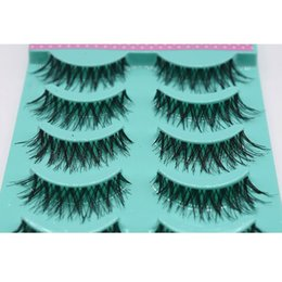 Wholesale Human Hair False Eyelashes Extension - Hot Selling Full Handmade 5 Pairs box Black Cross False Eyelash Soft Long Makeup Eye Lash Extension
